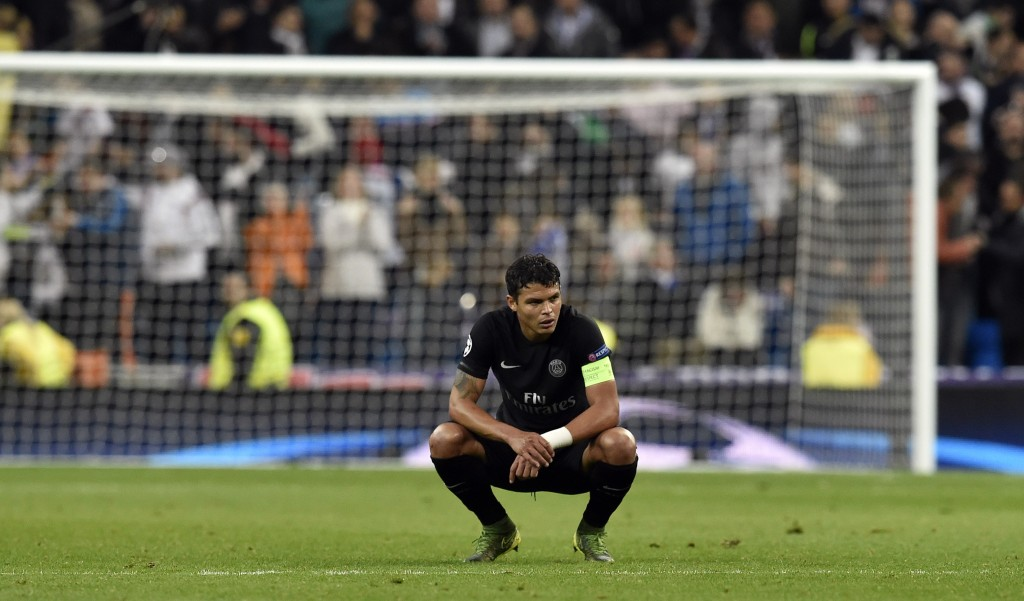 Paris Saint-Germain's Brazilian defender Thiago Silva looks on at the end of the UEFA Champions League group stage football match Real Madrid CF vs Paris Saint-Germain (PSG) at the Santiago Bernabeu stadium in Madrid on November 3, 2015. Madrid won 1-0. AFP PHOTO / GERARD JULIEN (Photo credit should read GERARD JULIEN/AFP/Getty Images)