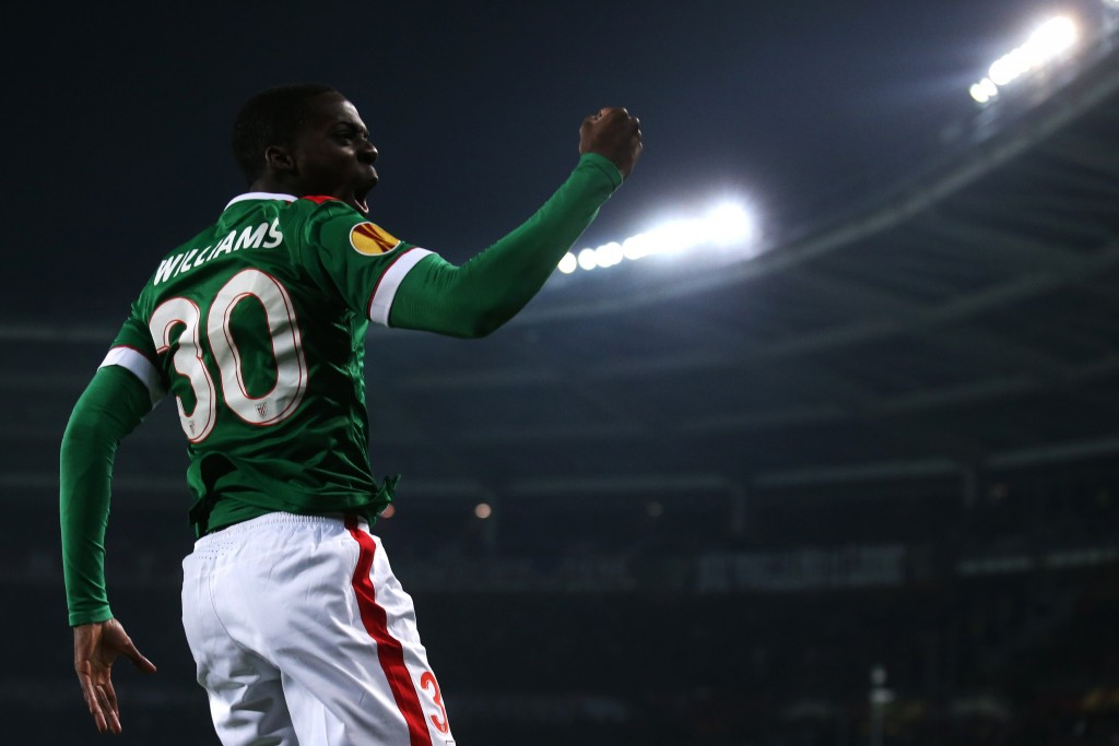 "Athletic Bilbao's Spanish forward Inaki Williams celebrates after scoring during the UEFA Europe League round of 32 football match Torino Vs Athletic Bilbao on February 19, 2015 at the ""Olympic Stadium"" in Turin. AFP PHOTO / MARCO BERTORELLO (Photo credit should read MARCO BERTORELLO/AFP/Getty Images)"