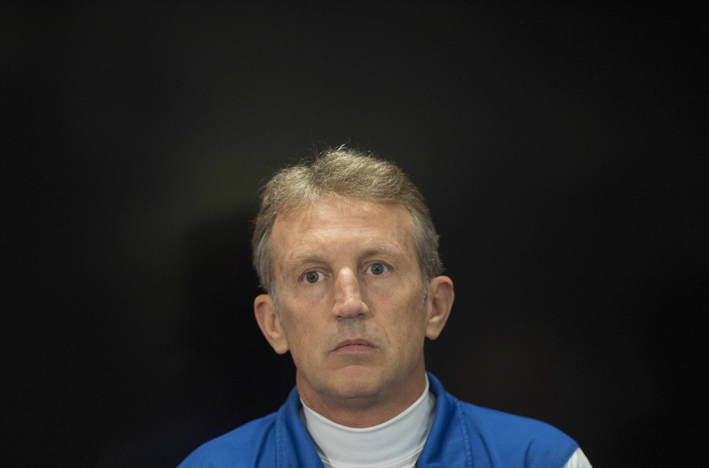 El Salvador national football team Head Coach Albert Roca speaks during a press conference at FEDEX Field in Landover, Maryland, March 27, 2015, during a practice session ahead of the Argentina vs. El Salvador friendly match scheduled to play March 28th. AFP PHOTO/JIM WATSON (Photo credit should read JIM WATSON/AFP/Getty Images)