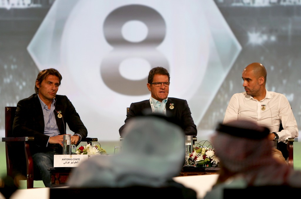 Juventus' Italian team manager Antonio Conte (L), Russia's coach Italian Fabio Capello (C) and Bayern Munich's Spanish head coach Pep Guardiola attend the first session of the 8th Dubai International Sports Conference on December 28, 2013 in Dubai. AFP PHOTO/MARWAN NAAMANI (Photo credit should read MARWAN NAAMANI/AFP/Getty Images)