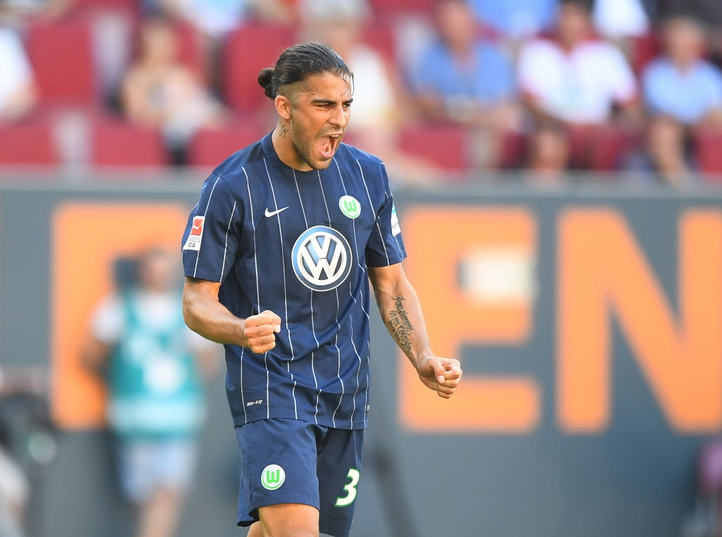 AUGSBURG, GERMANY - AUGUST 27: Ricardo Rodriguez of VfL Wolfsburg celebrates his team's second goal during the Bundesliga match between FC Augsburg and VfL Wolfsburg at WWK Arena on August 27, 2016 in Augsburg, Germany. (Photo by Lennart Preiss/Bongarts/Getty Images)