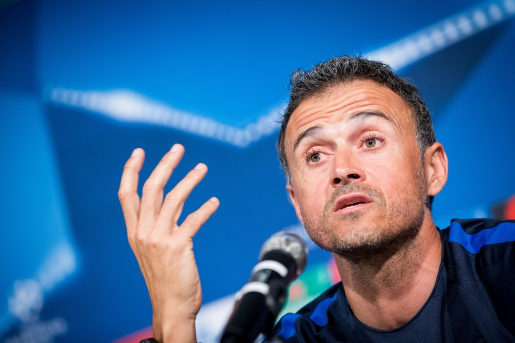 Coach Luis Enrique Martinez Garcia of FC Barcelona speaks during a press conference on the eve of their UEFA Champions League match against VfL Borussia Moenchengladbach at Borussia-Park on September 27, 2016 in Moenchengladbach, Germany. (Photo by Maja Hitij/Bongarts/Getty Images)