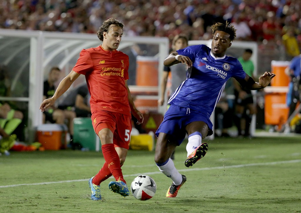 PASADENA, CA - JULY 27: Lazar Markovic #50 of Liverpool is challenged by Nathaniel Chalobah #29 of Chelsea in the second half during the 2016 International Champions Cup at Rose Bowl on July 27, 2016 in Pasadena, California. Chelsea defeated Liverpool 1-0. (Photo by Jeff Gross/Getty Images)