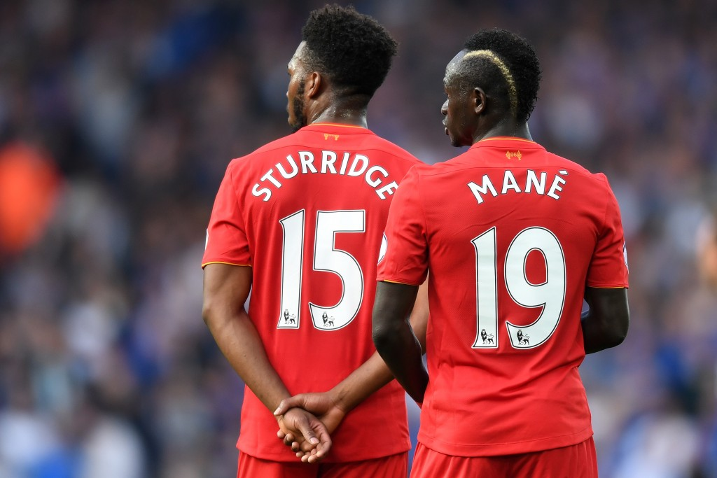 LIVERPOOL, ENGLAND - SEPTEMBER 10: Sadio Mane of Liverpool and Daniel Sturridge of Liverpool look on during the Premier League match between Liverpool and Leicester City at Anfield on September 10, 2016 in Liverpool, England. (Photo by Michael Regan/Getty Images)