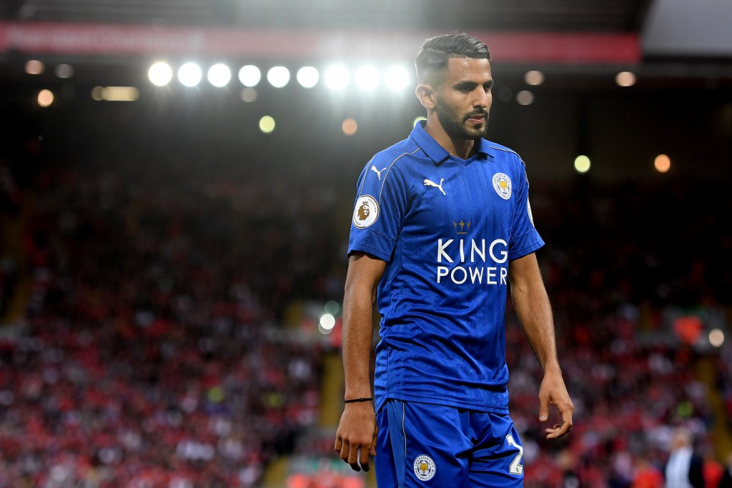 LIVERPOOL, ENGLAND - SEPTEMBER 10: Riyad Mahrez of Leicester City looks on during the Premier League match between Liverpool and Leicester City at Anfield on September 10, 2016 in Liverpool, England. (Photo by Michael Regan/Getty Images)