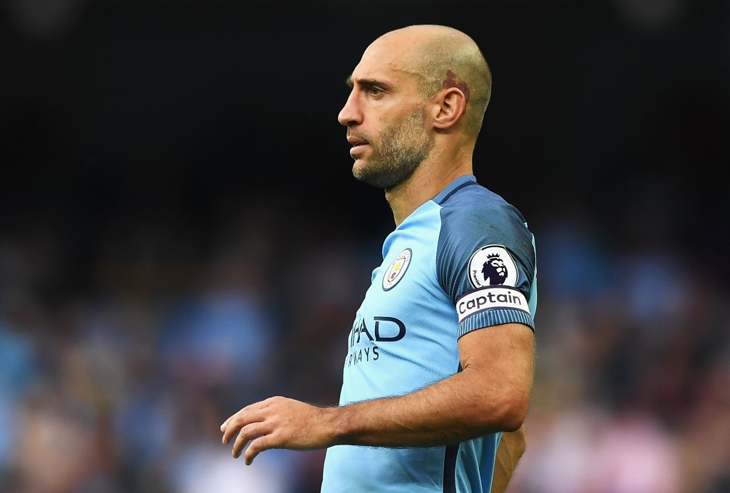 MANCHESTER, ENGLAND - AUGUST 28: Pablo Zabaleta of Manchester City wears the captain's armband during the Premier League match between Manchester City and West Ham United at Etihad Stadium on August 28, 2016 in Manchester, England. (Photo by Gareth Copley/Getty Images)
