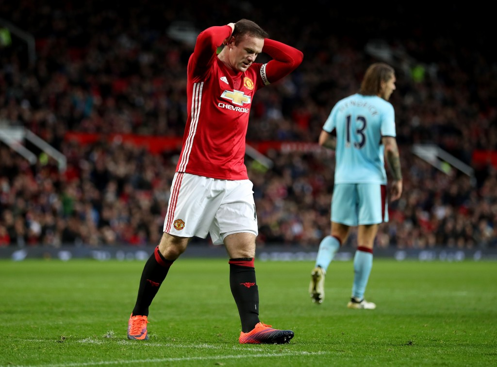 MANCHESTER, ENGLAND - OCTOBER 29: Wayne Rooney of Manchester United reacts during the Premier League match between Manchester United and Burnley at Old Trafford on October 29, 2016 in Manchester, England. (Photo by Mark Robinson/Getty Images)