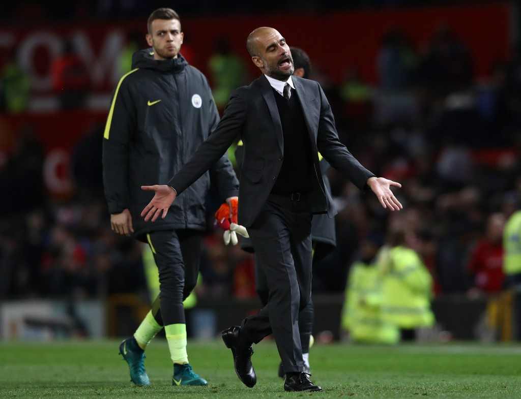 MANCHESTER, ENGLAND - OCTOBER 26: Josep Guardiola, Manager of Manchester City reacts during the EFL Cup fourth round match between Manchester United and Manchester City at Old Trafford on October 26, 2016 in Manchester, England. (Photo by David Rogers/Getty Images)