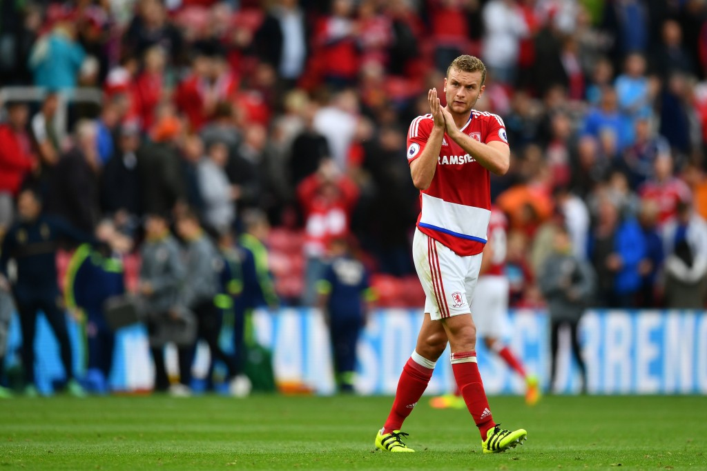 MIDDLESBROUGH, ENGLAND - SEPTEMBER 24: Ben Gibson of Middlesbrough claps the fans after the game during the Premier League match between Middlesbrough and Tottenham Hotspur at the Riverside Stadium on September 24, 2016 in Middlesbrough, England. (Photo by Dan Mullan/Getty Images)