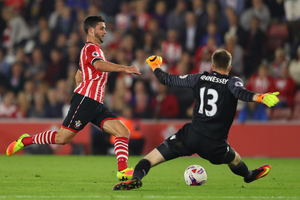 SOUTHAMPTON, ENGLAND - SEPTEMBER 21: Shane Long of Southampton shot is saved by Wayne Hennessey of Crystal Palace during the EFL Cup Third Round match between Southampton and Crystal Palace at St Mary's Stadium on September 21, 2016 in Southampton, England. (Photo by Richard Heathcote/Getty Images)