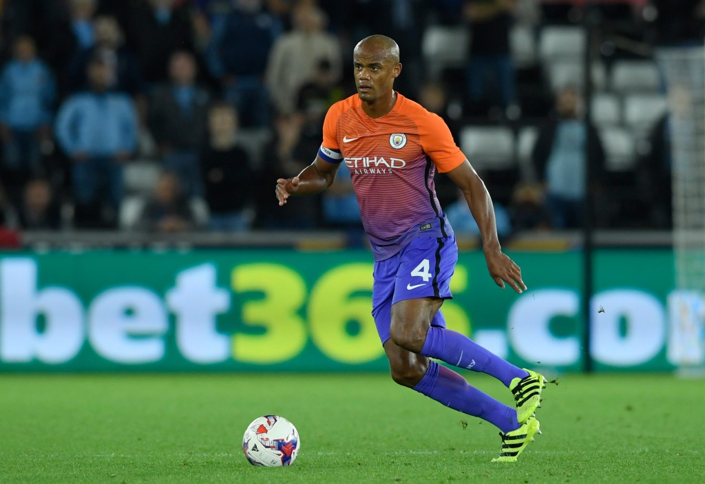 SWANSEA, WALES - SEPTEMBER 21: Vincent Kompany of Manchester City in action during the EFL Cup Third Round match between Swansea City and Manchester City at the Liberty Stadium on September 21, 2016 in Swansea, Wales. (Photo by Stu Forster/Getty Images)