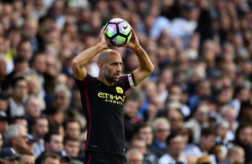 LONDON, ENGLAND - OCTOBER 02: Pablo Zabaleta of Manchester City prepares to take a throw in during the Premier League match between Tottenham Hotspur and Manchester City at White Hart Lane on October 2, 2016 in London, England. (Photo by Dan Mullan/Getty Images)
