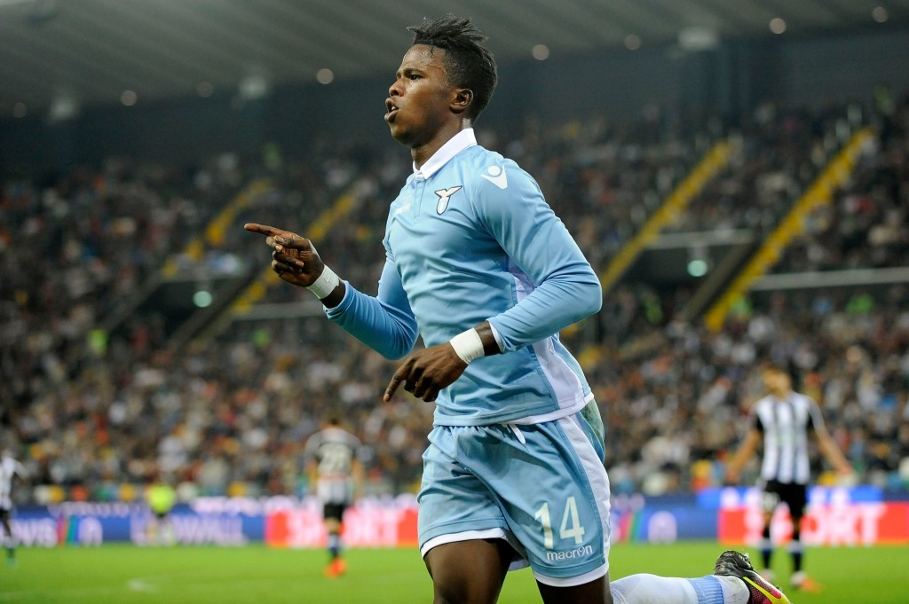 UDINE, VERONA - OCTOBER 01: Keita Balde Diao of SS Lazio celebrates after scoring his team's second goal during the Serie A match between Udinese Calcio and SS Lazio at Stadio Friuli on October 1, 2016 in Udine, Italy. (Photo by Getty Images/Getty Images)