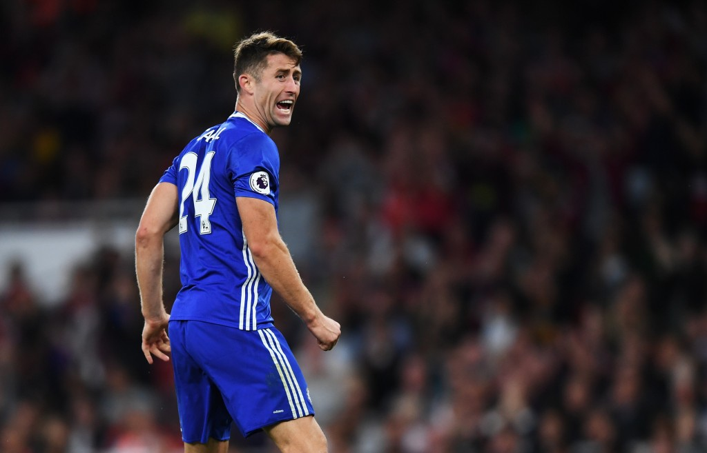 LONDON, ENGLAND - SEPTEMBER 24: Gary Cahill of Chelsea reacts during the Premier League match between Arsenal and Chelsea at the Emirates Stadium on September 24, 2016 in London, England.  (Photo by Shaun Botterill/Getty Images)