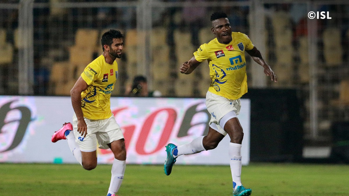 Belfort celebrates coring the winning goal for Kerala Blasters.