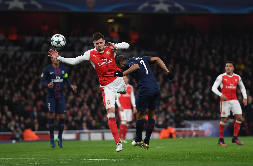 LONDON, ENGLAND - NOVEMBER 23: Lucas of PSG scores his sides second goal during the UEFA Champions League match between Arsenal FC and Paris Saint-Germain at Emirates Stadium on November 23, 2016 in London, England. (Photo by Shaun Botterill/Getty Images)