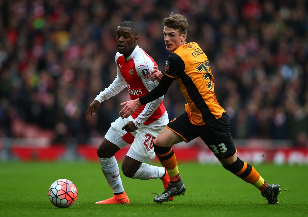 LONDON, ENGLAND - FEBRUARY 20: Joel Campbell of Arsenal and Josh Tymon of Hull City compete for the ball during the Emirates FA Cup fifth round match between Arsenal and Hull City at the Emirates Stadium on February 20, 2016 in London, England. (Photo by Clive Rose/Getty Images)