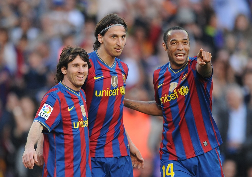 BARCELONA, SPAIN - APRIL 24: Lionel Messi (L), Zlatan Ibrahimovic (C) and Thierry Henry of Barcelona celebrate after Ibrahimovic scored his team's third goal during the La Liga match between Barcelona and Xerez CD at Camp Nou stadium on April 24, 2010 in Barcelona, Spain. (Photo by Denis Doyle/Getty Images)