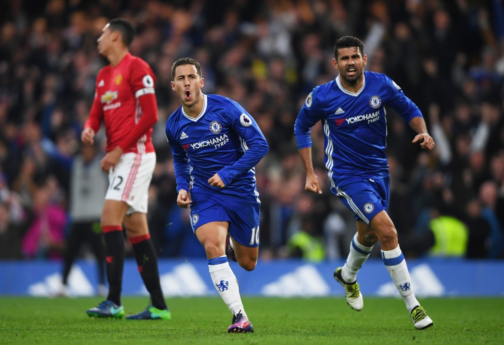 LONDON, ENGLAND - OCTOBER 23: Eden Hazard of Chelsea celebrates scoring his sides third goal with Diego Costa of Chelsea during the Premier League match between Chelsea and Manchester United at Stamford Bridge on October 23, 2016 in London, England. (Photo by Mike Hewitt/Getty Images)