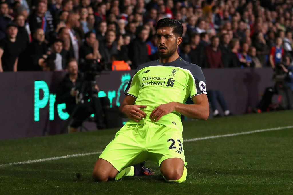 LONDON, ENGLAND - OCTOBER 29: Emre Can of Liverpool celebrates scoring his team's first goal during the Premier League match between Crystal Palace and Liverpool at Selhurst Park on October 29, 2016 in London, England. (Photo by Christopher Lee/Getty Images)