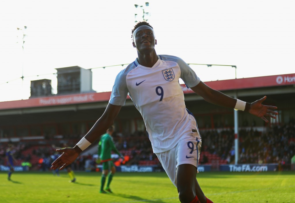WALSALL, ENGLAND - OCTOBER 11: Tammy Abraham of England U21 celebrates as he scores their fifth goal during the UEFA European U21 Championship Group 9 qualifying match between England and Bosnia and Herzegovina at Banks' Stadium on October 11, 2016 in Walsall, England. (Photo by Michael Steele/Getty Images)