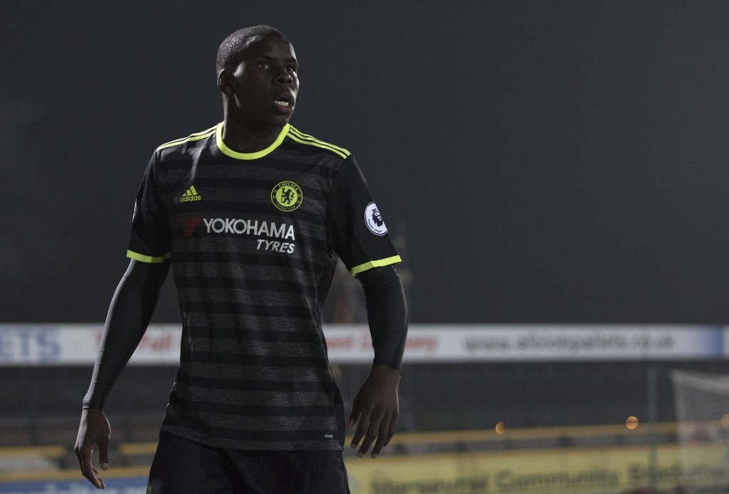 SOUTHPORT, ENGLAND- October 31: Kurt Zouma of Chelsea looks on during the Premier League 2 match between Everton U21s and Chelsea U21s at Haig Avenue Stadium on October 31, 2016 in Southport, England. (Photo by Nathan Stirk/Getty Images)