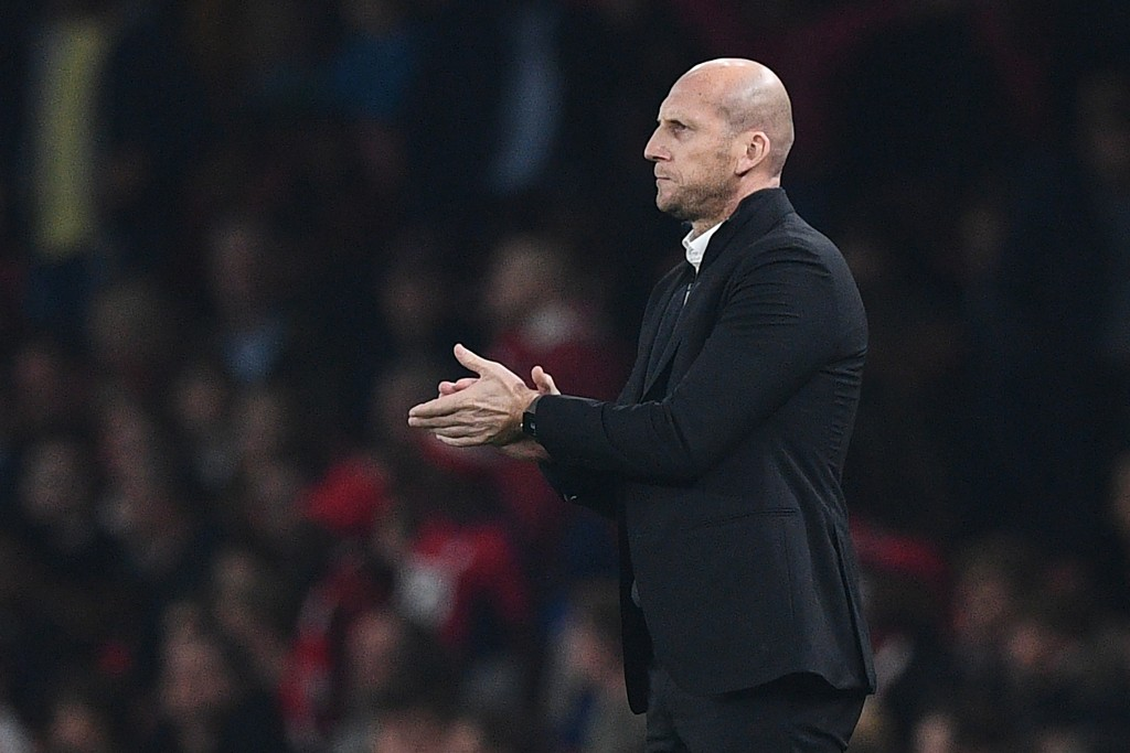 Reading's Dutch manager Jaap Stam gestures on the touchline during the EFL (English Football League) Cup fourth round match between Arsenal and Reading at The Emirates Stadium in London on October 25, 2016. (Photo by Justin Tallis/AFP/Getty Images)