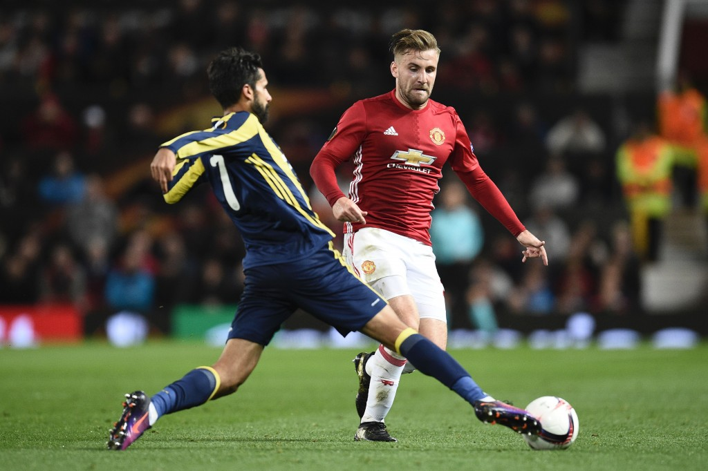Shaw looked completely out of sorts against Fenerbahce, with the Turks dictating play down his left wing.(Photo by Oli Scarff/AFP/Getty Images)