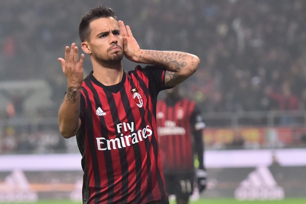 AC Milan's forward from Spain Suso celebrates after scoring during the Italian Serie A football match AC Milan Vs Inter Milan on November 20, 2016 at the 'San Siro Stadium' in Milan. / AFP / GIUSEPPE CACACE (Photo credit should read GIUSEPPE CACACE/AFP/Getty Images)