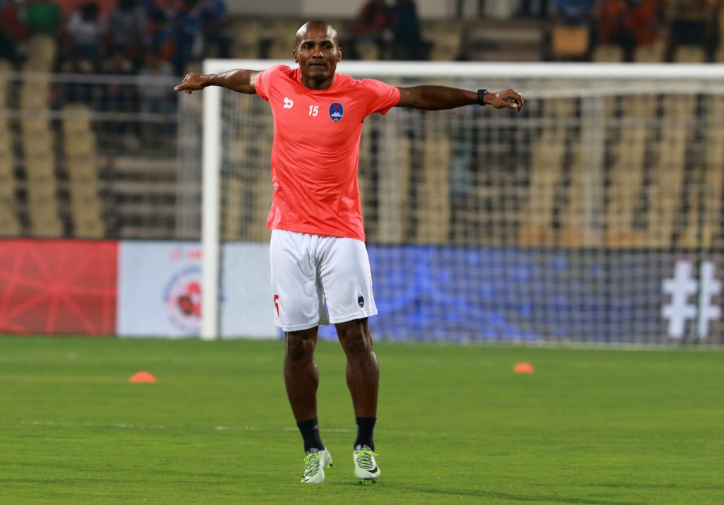 Florent Johan Malouda of Delhi Dynamos FC warm up before the start of the match 27 of the Indian Super League (ISL) season 3 between FC Goa and Delhi Dynamos FC held at the Fatorda Stadium in Goa, India on the 30th October 2016. Photo by Vipin Pawar / ISL / SPORTZPICS