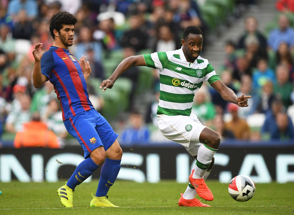 DUBLIN, IRELAND - JULY 30: Carles Alena (L) of Barcelona and Moussa Dembele (R) of Celtic during the International Champions Cup series match between Barcelona and Celtic at Aviva Stadium on July 30, 2016 in Dublin, Ireland. (Photo by Charles McQuillan/Getty Images)