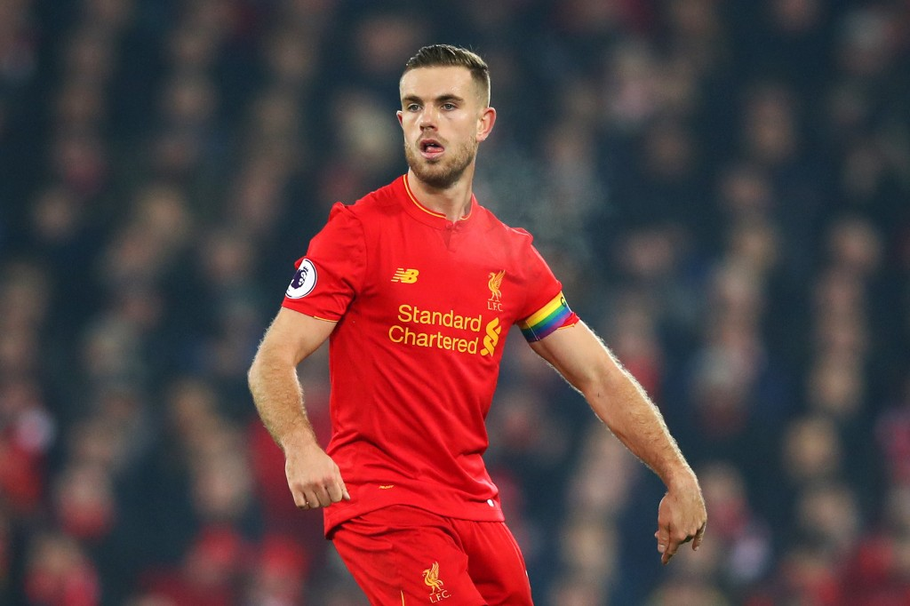 LIVERPOOL, ENGLAND - NOVEMBER 26: Jordan Henderson of Liverpool in action during the Premier League match between Liverpool and Sunderland at Anfield on November 26, 2016 in Liverpool, England. (Photo by Clive Brunskill/Getty Images)