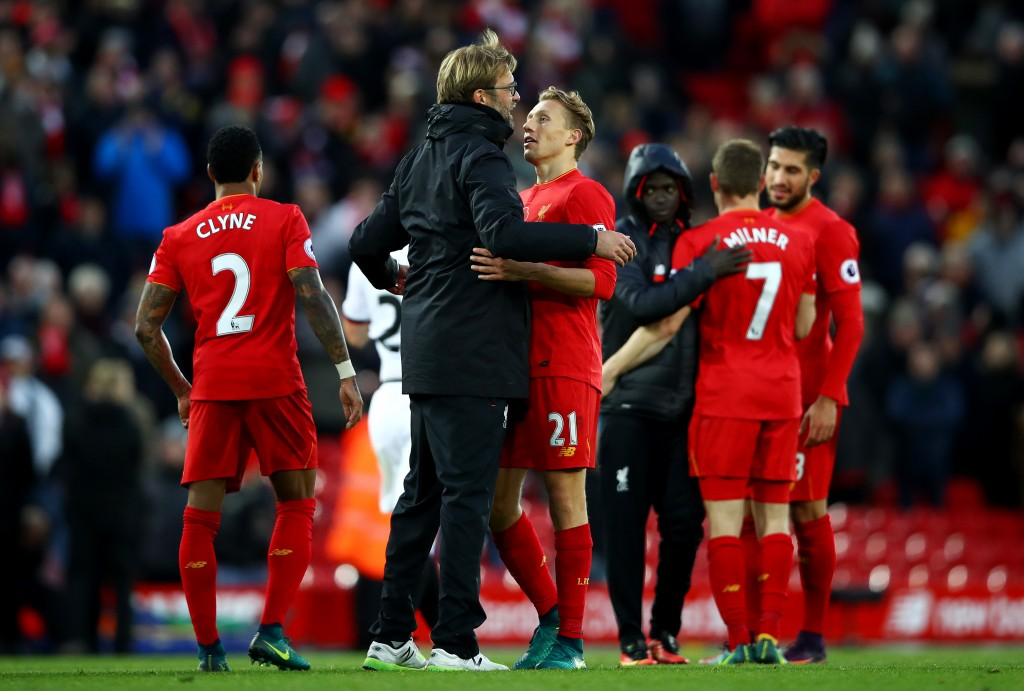 LIVERPOOL, ENGLAND - NOVEMBER 06: Jurgen Klopp, Manager of Liverpool celebrates with Lucas Leiva of Liverpool during the Premier League match between Liverpool and Watford at Anfield on November 6, 2016 in Liverpool, England. (Photo by Clive Brunskill/Getty Images)