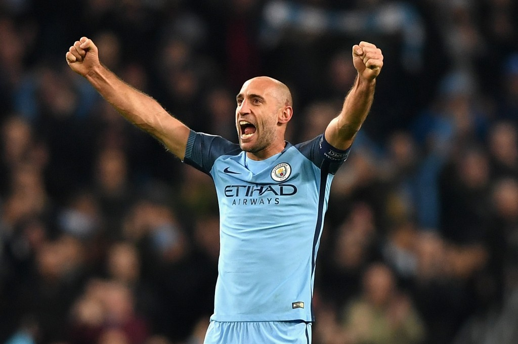 MANCHESTER, ENGLAND - NOVEMBER 01: Pablo Zabaleta of Manchester City celebrates his sides win after the final whistle during the UEFA Champions League Group C match between Manchester City FC and FC Barcelona at Etihad Stadium on November 1, 2016 in Manchester, England. (Photo by Shaun Botterill/Getty Images)