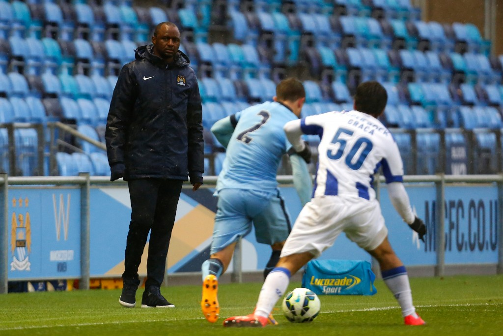 MANCHESTER, ENGLAND - MAY 8: Manager Patrick Vieira of Manchester City watches on during the Premier League International Cup Final match between Manchester City and FC Porto at the Manchester City Academy Stadium on May 8, 2015 in Mancheter, England. (Photo by Paul Thomas/Getty Images)