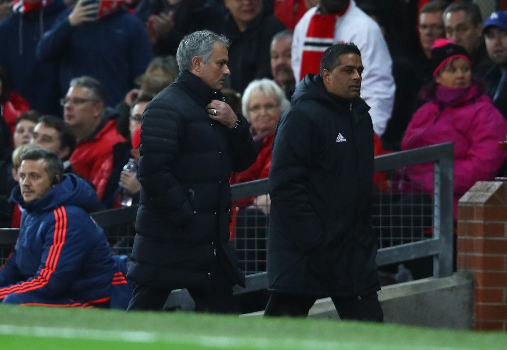 MANCHESTER, ENGLAND - NOVEMBER 27: Jose Mourinho, Manager of Manchester United makes his way to the stands after being sent there by their by the referee during the Premier League match between Manchester United and West Ham United at Old Trafford on November 27, 2016 in Manchester, England. (Photo by Clive Brunskill/Getty Images)
