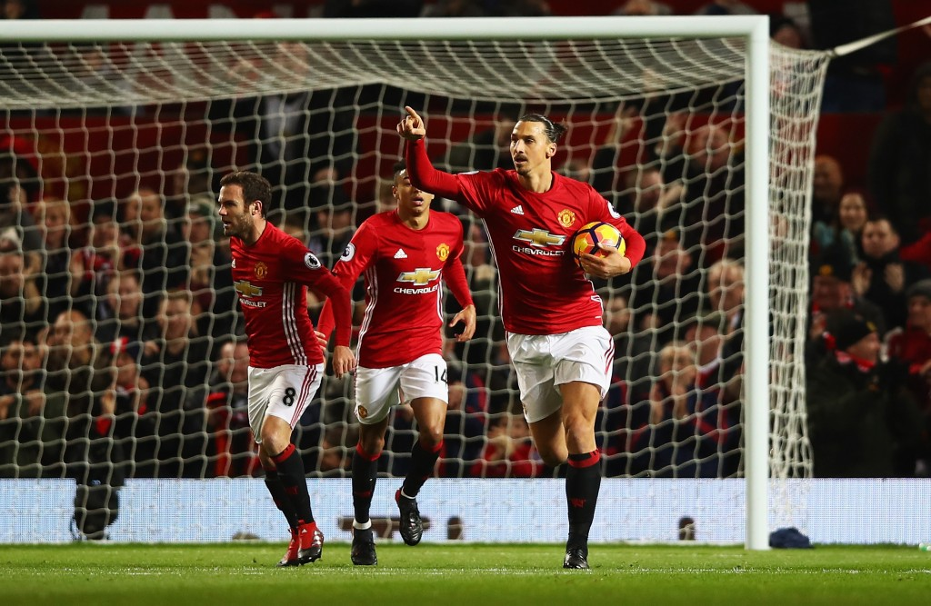 MANCHESTER, ENGLAND - NOVEMBER 27: Zlatan Ibrahimovic of Manchester United celebrates scoring his sides first goal during the Premier League match between Manchester United and West Ham United at Old Trafford on November 27, 2016 in Manchester, England. (Photo by Clive Brunskill/Getty Images)