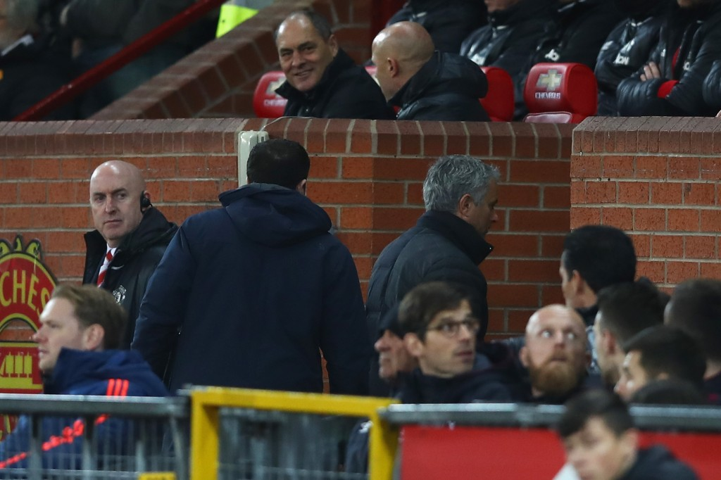 MANCHESTER, ENGLAND - NOVEMBER 27: Jose Mourinho, Manager of Manchester United (R) makes his way to the stands are being sent off during the Premier League match between Manchester United and West Ham United at Old Trafford on November 27, 2016 in Manchester, England. (Photo by Clive Brunskill/Getty Images)