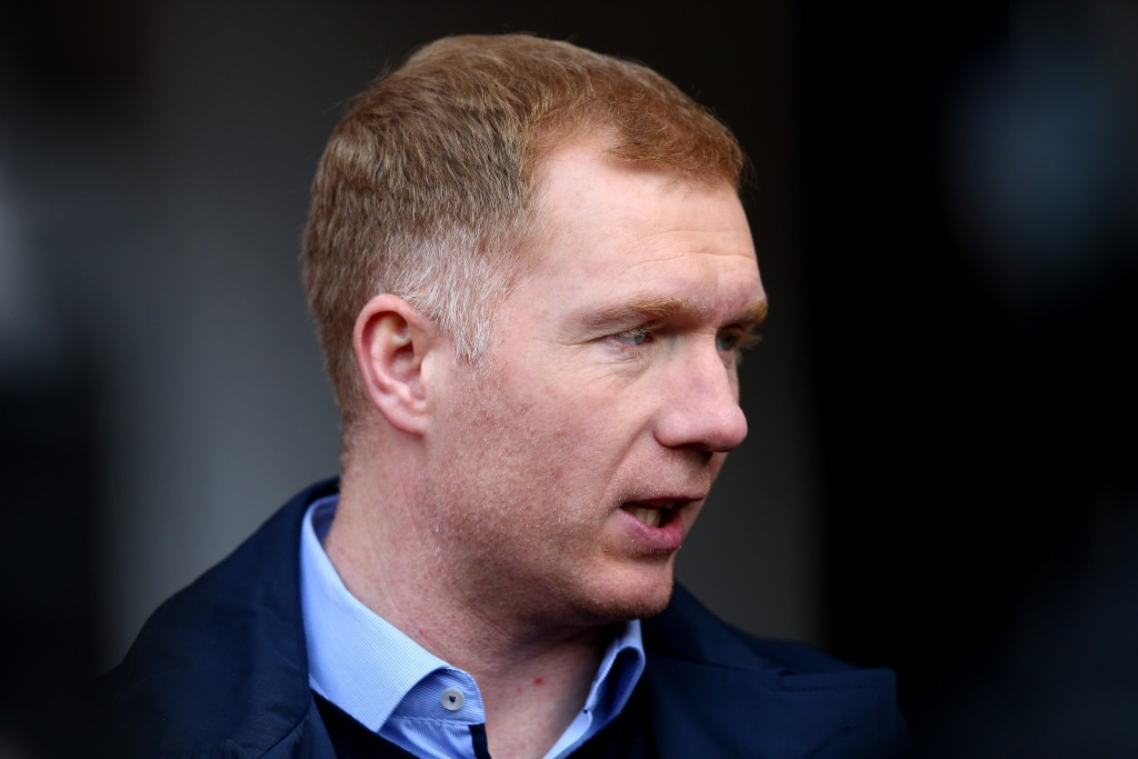 MANCHESTER, ENGLAND - MARCH 13: Ex Manchester United player Paul Scholes working for BT Sport prior to The Emirates FA Cup Sixth Round match between Manchester United and West Ham United at Old Trafford on March 13, 2016 in Manchester, England. (Photo by Clive Brunskill/Getty Images)