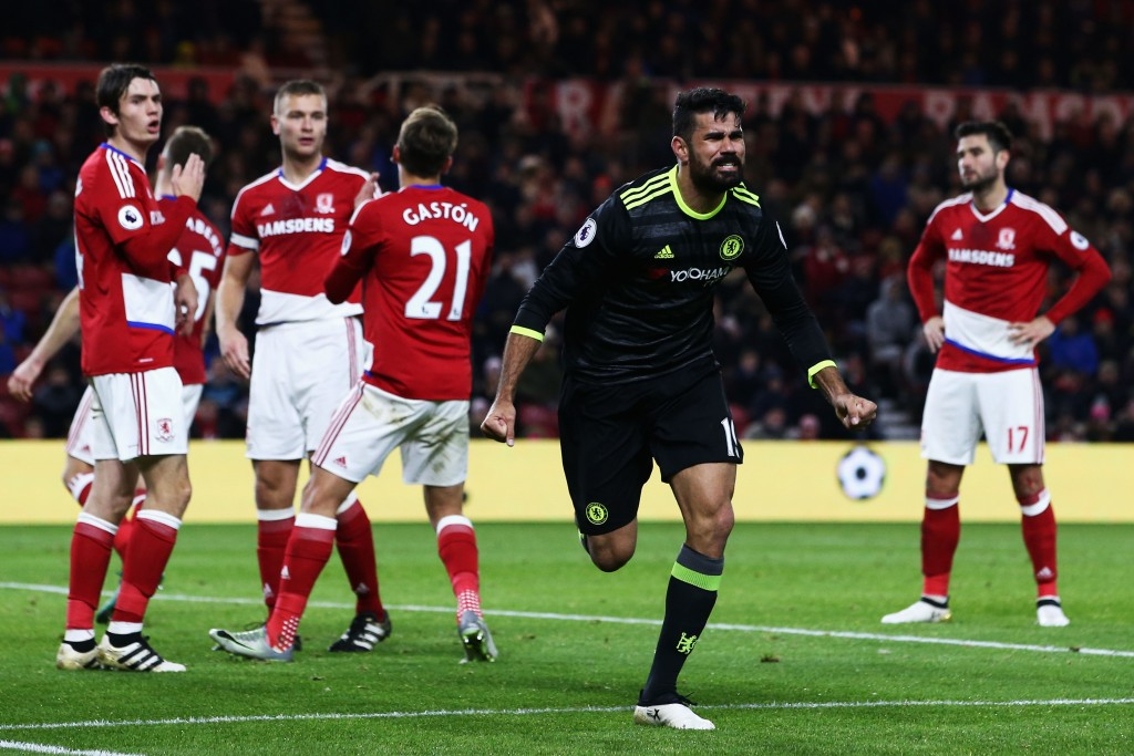 MIDDLESBROUGH, ENGLAND - NOVEMBER 20: Diego Costa of Chelsea celebrates scoring the opening goal during the Premier League match between Middlesbrough and Chelsea at Riverside Stadium on November 20, 2016 in Middlesbrough, England. (Photo by Jan Kruger/Getty Images)