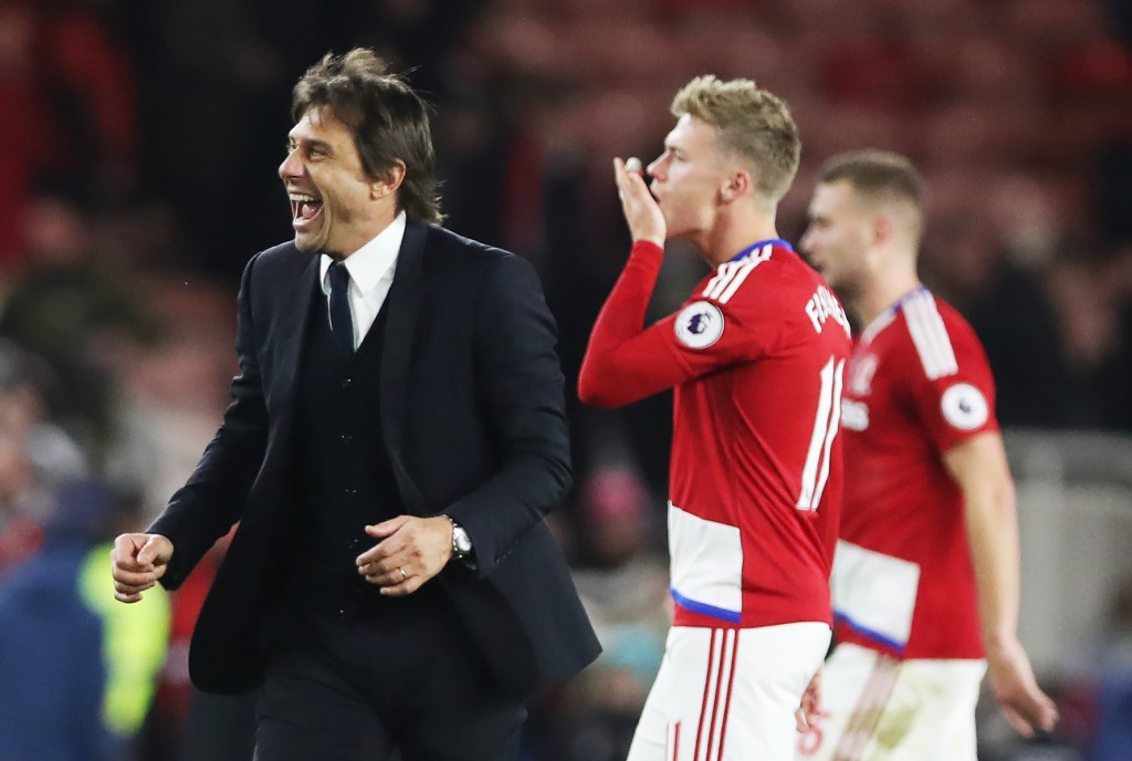 MIDDLESBROUGH, ENGLAND - NOVEMBER 20:  Chelsea manager Antonio Conte celebrates during the Premier League match between Middlesbrough and Chelsea at Riverside Stadium on November 20, 2016 in Middlesbrough, England. (Photo by Ian MacNicol/Getty Images)