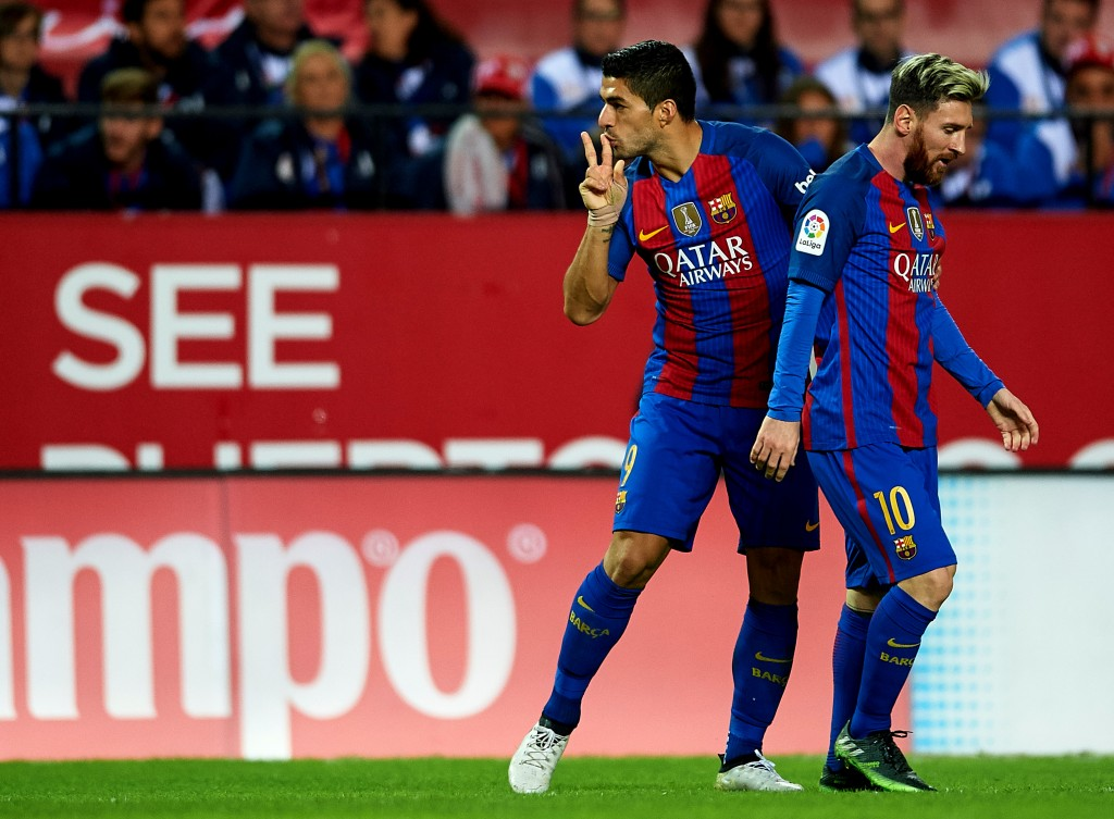 Star strikers Luis Suarez and Lionel Messi will return to the starting XI on Sunday after missing the match against Malaga last week. (Photo by Aitor Alcalde/Getty Images)