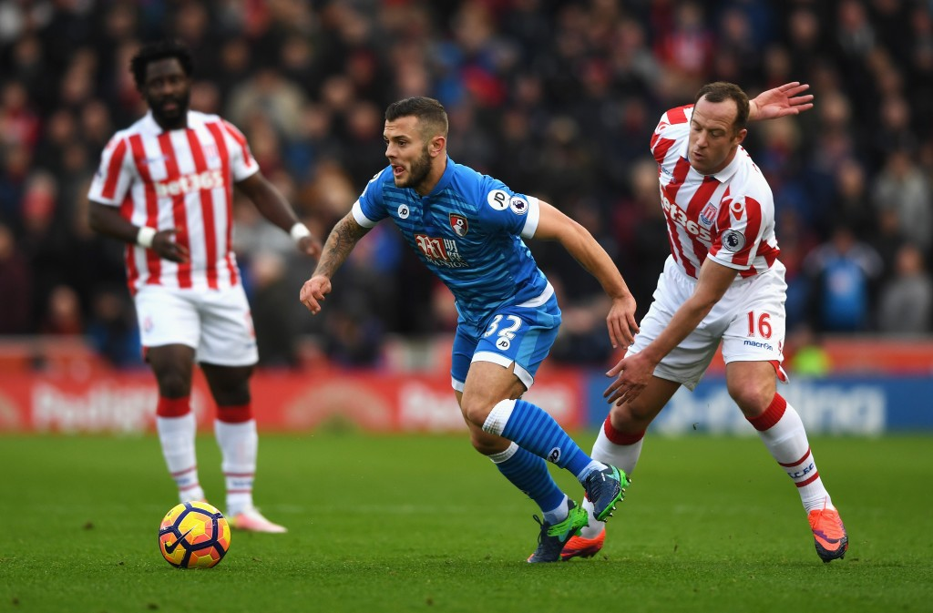 STOKE ON TRENT, ENGLAND - NOVEMBER 19: Jack Wilshere of AFC Bournemouth (L) is tackled by Charlie Adam of Stoke City (R) during the Premier League match between Stoke City and AFC Bournemouth at Bet365 Stadium on November 19, 2016 in Stoke on Trent, England. (Photo by Gareth Copley/Getty Images)