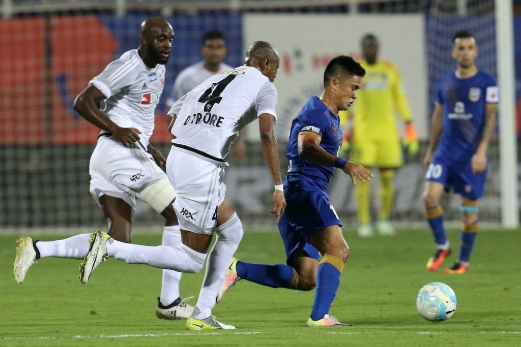 Sunil Chhetri's return could not spur the Mumbai side to a victory in the Maharashtra derby. (Picture Courtesy - ISL)