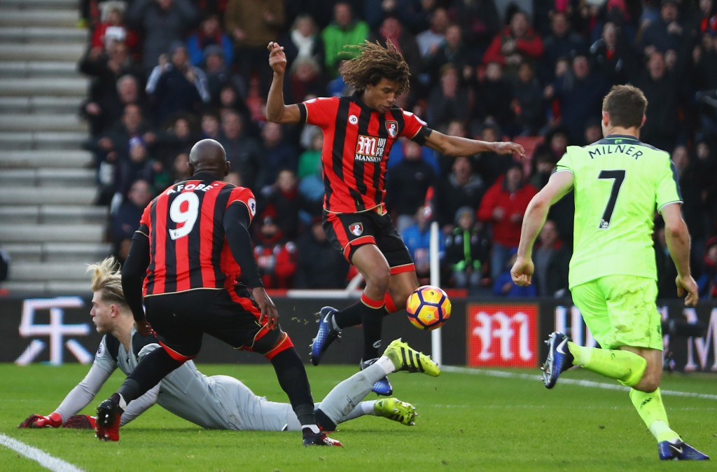 BOURNEMOUTH, ENGLAND - DECEMBER 04: Nathan Ake of AFC Bournemouth controls the ball as he scores their fourth goal during the Premier League match between AFC Bournemouth and Liverpool at Vitality Stadium on December 4, 2016 in Bournemouth, England. (Photo by Michael Steele/Getty Images)