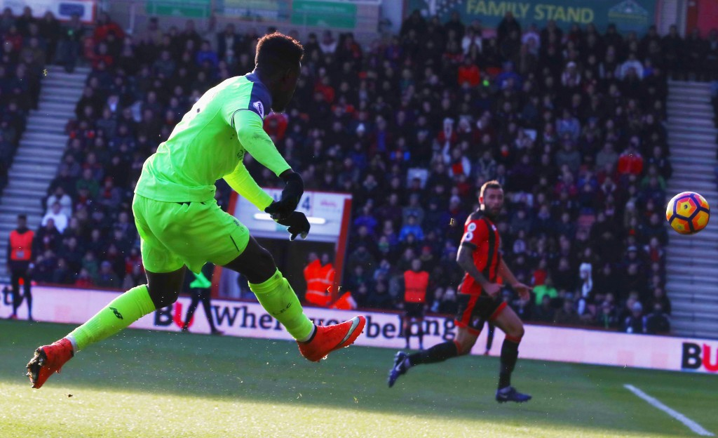 BOURNEMOUTH, ENGLAND - DECEMBER 04: Divock Origi of Liverpool scores their second goal during the Premier League match between AFC Bournemouth and Liverpool at Vitality Stadium on December 4, 2016 in Bournemouth, England. (Photo by Michael Steele/Getty Images)