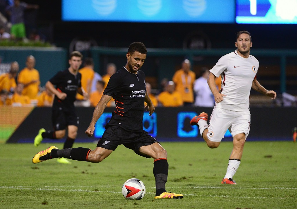 ST LOUIS, MO - AUGUST 01: Kevin Stewart #35 of Liverpool FC handles the ball against AS Roma during a friendly match at Busch Stadium on August 1, 2016 in St Louis, Missouri. AC Roma won 2-1. (Photo by Jeff Curry/Getty Images)