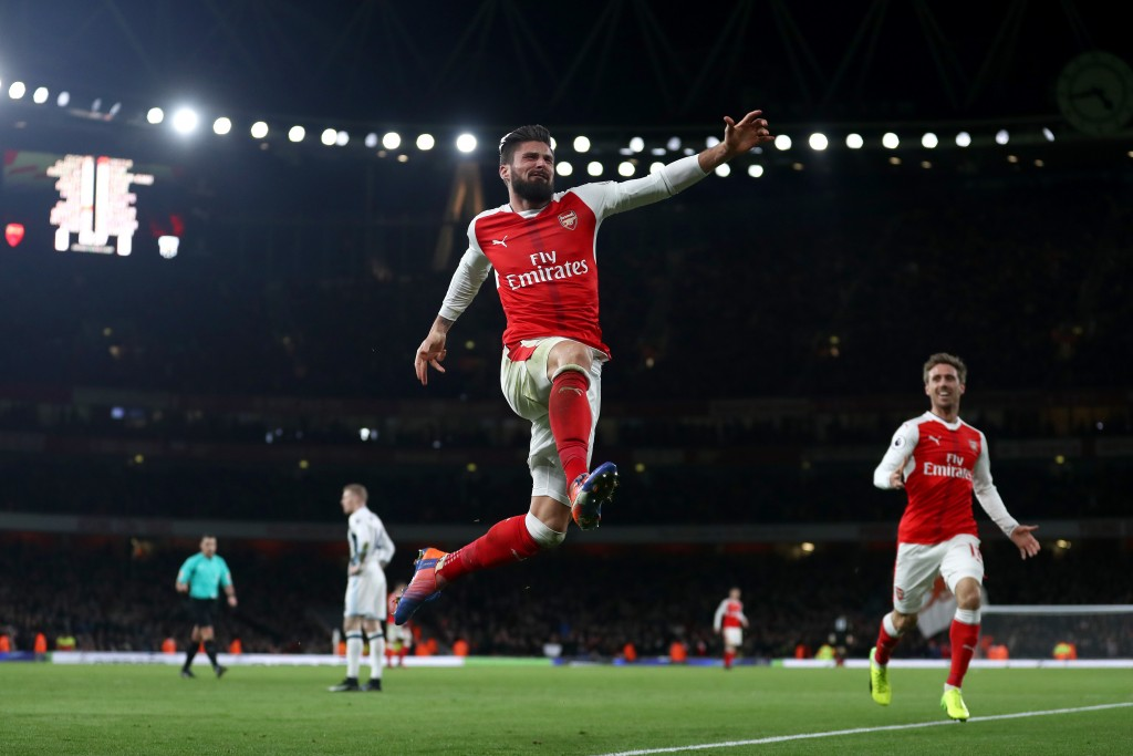 Olivier Giroud celebrates after scoring the only goal during the reverse fixture at Emirates Stadium (Photo courtesy - Julian Finney/Getty Images)