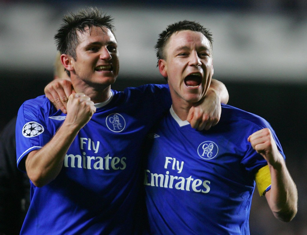 LONDON, United Kingdom: Chelsea's Frank Lampard (L) and John Terry celebrate their win after the second leg of their Champion's League football match at Stamford Bridge stadium in London 08 March, 2005. Chelsea won 4-2 and advances 5-4 on agrigate. AFP PHOTO/jJIM WATSON (Photo credit should read JIM WATSON/AFP/Getty Images)