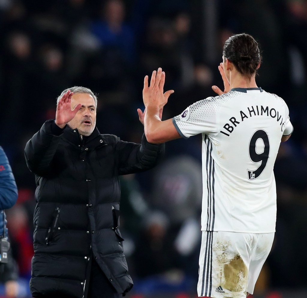 LONDON, ENGLAND - DECEMBER 14: Jose Mourinho, Manager of Manchester United congratulates Zlatan Ibrahimovic after the Premier League match between Crystal Palace and Manchester United at Selhurst Park on December 14, 2016 in London, England. (Photo by Christopher Lee/Getty Images)